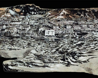 L'Anse-Saint-Jean-print giclee original local creation-Saguenay region scenes-drawing painting white birch bark brush India Ink and gouache