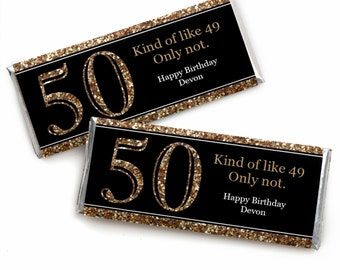 50th Birthday Candy Bar Wrappers - Adult 50th Birthday - Gold - Personalized Birthday Party Favors - Set of 24
