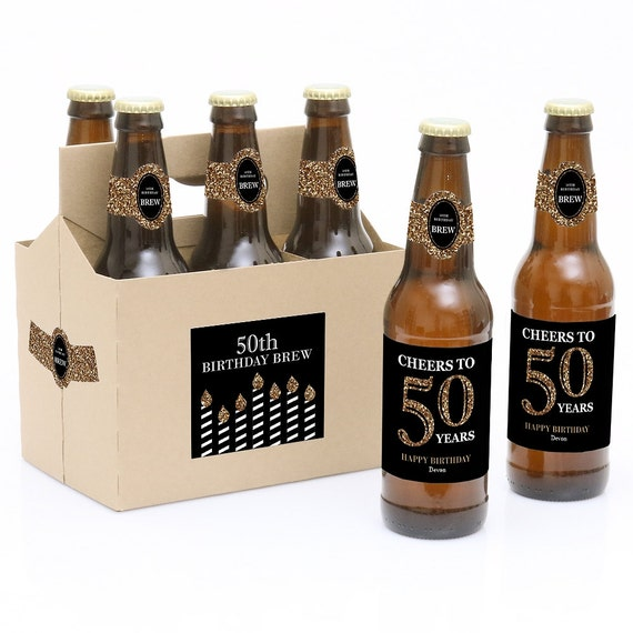 50th Birthday Liquor: 6 Beer Bottle Labels & 1