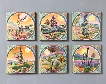 FRENCH VINTAGE COASTERS / 6 coasters / Painting / Art coasters / Placemates / Children / Flowers / Butterfly / Calmejane