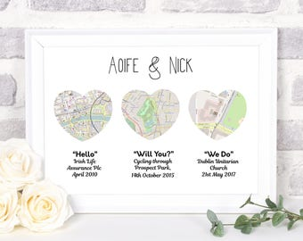 Map Engagement gift, engagement map gift, Map Engagement gifts for couples, Map art print, Engagement map, Map gift, map print, PRINT ONLY