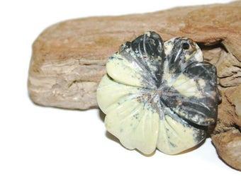 Yellow Turquoise Flower Pendant Bead, Yellow and Black Gemstone Pendant, Carved Gemstone Pendant, Carved Stone Pendant, Flower Pendant