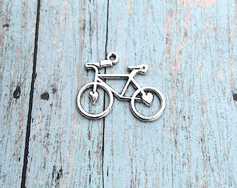 6 Large bicycle charms (1 sided) antique silver tone - silver bicycle pendants, cyclist charms, bike charms, cycling pendants, G7