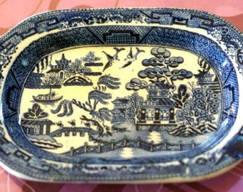 Rare Antique Blue Willow Small Platter Stafford Shire Stone China