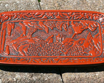 Gorgeous Vintage Chinese Feng Shui Cinnabar Style Lacquer ware Plate / Tray / Display Plaque Decor