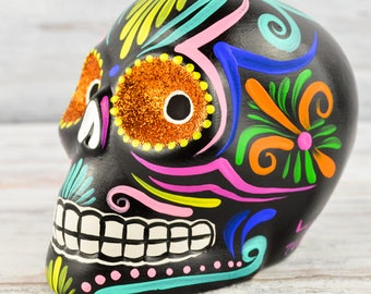 D098 Clay Skull Day of the Death Oaxacan Wood Carving Painting Handcrafted Folk