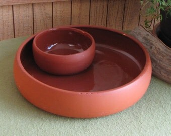 Bortner Chip and Salsa Bowl Terra Cotta Serving Tray Entertaining Southwestern Styled Party Service Appetizer Vintage Chips and Dip Red Clay