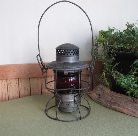 Rock Island Railroad Lantern Railroad Relic Memorabilia Red Globe Fixed Globe Lantern Adlake Kero 1921 to 1923 Americana
