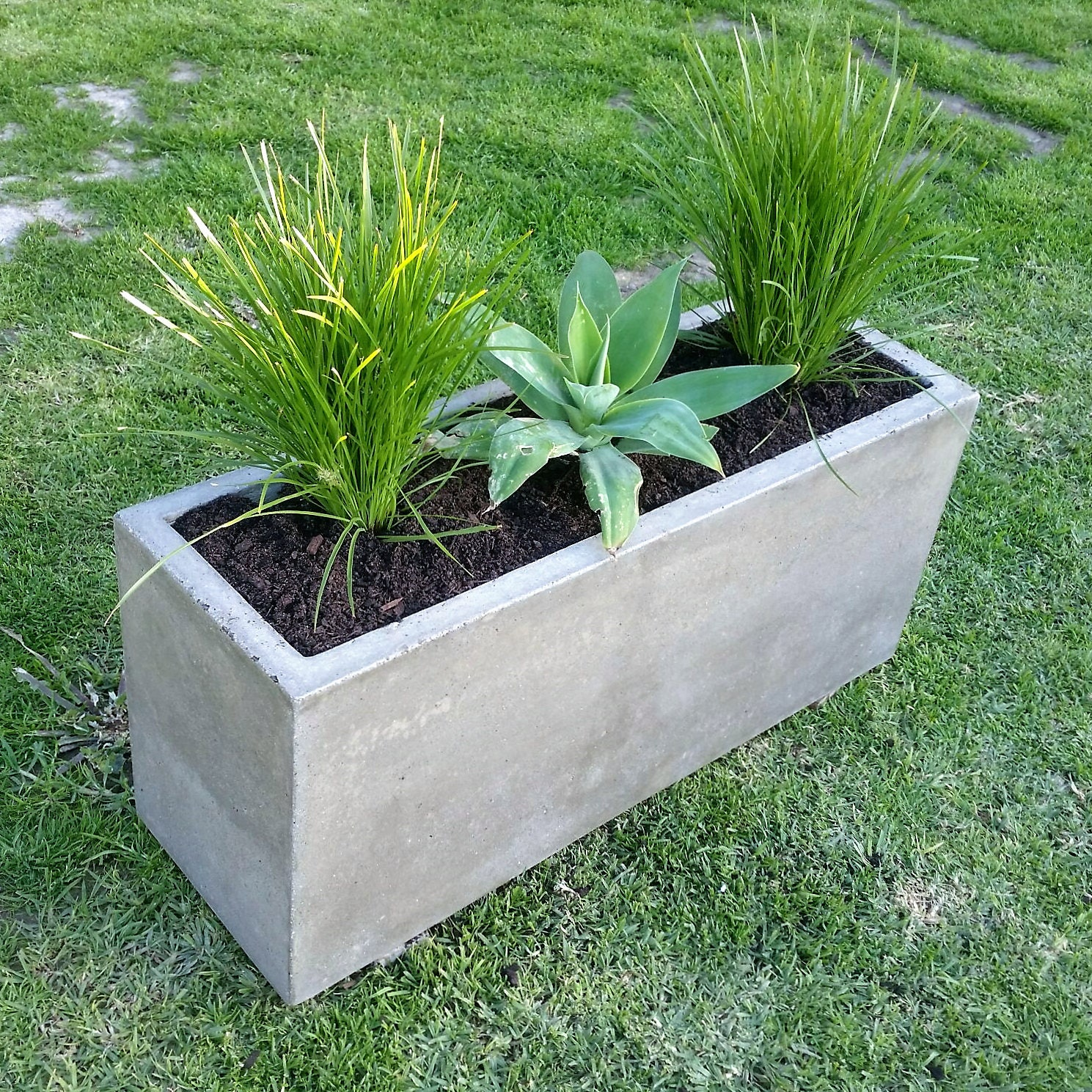 Diy Concrete Planter Box: Rectangular Large Concrete Planter Trough. 900mm X 300mm X