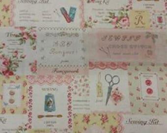 NEW * fabric YUWA Japanese... theme vintage haberdashery