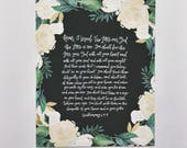 Shema | HandLettered Art Print | Bible Verse Decor | Floral | Keepsake | Deuteronomy 6 | Christian Wall Art