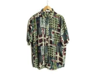 Green Silk shirt, Mens shirt, Men silk shirt, Button up shirt, Dress shirt, Vintage shirt, Bohemian Shirt, Short sleeve shirt / Medium Large