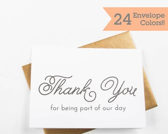 Thank you for being part of our day, Wedding Day Card, Thank You Wedding Cards (WC150-PL)
