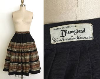 Vintage 1950s disney skirt // 50s woven Guatemalan skirt
