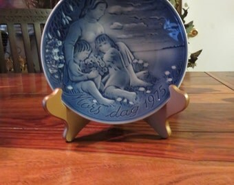 Beautiful Denmark Vintage Porcelain Georg Jensen Mothers Day Plate 1975