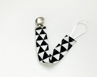 Pacifier Clip - Black and White Remix Triangle Pacifier Clip - Paci Clip - Binky Clip - Pacifier Holder - Fabric Pacifier Clip - Handmade