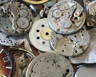 Vintage Steampunk Watch Components Watch Parts Mixed Media