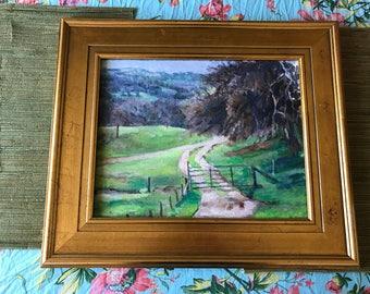 vintage landscape oil painting/ landscape painting/oild paintings /framed oil painting/handmade/hand painted/oframe landscape painting