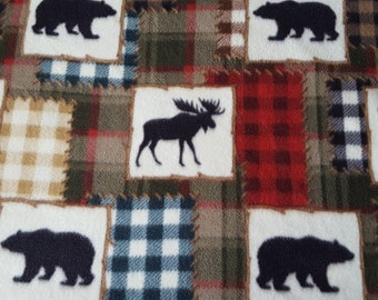 Bear Lake Silhouette Patch Anti Pill Fleece Fabric Sold by the Yard