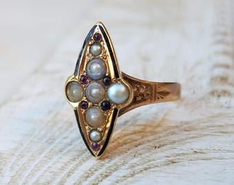 Antique Victorian Enamel Mourning Ring with Rhodolite Garnet Seed Pearls Set in 14k Rose Gold | Memory Ring | Memorial Ring