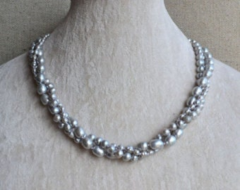 "18"" Classic 925 Sterling Silver Twist Strands Lavender Pearl Necklace"