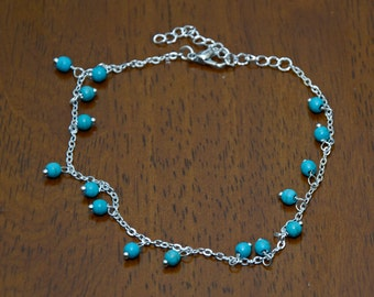 Silver Plated Turquoise Bead Anklet