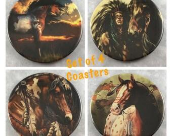 Horses, Native American, Coasters, Set of 4, Barware, 3.50 Inch Size, Fandom, Equestrian, Gift Set, Decor, Hot Cold Drinks, Item #51
