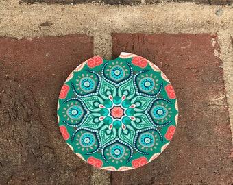 Custom Colorful Coral/Green Mandala Sandstone Auto Cup Holder Coasters (set of2)  Personalized Custom Car Coasters (set of2)Gift Ideas