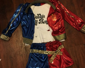 Custom Harley quinn costume 2t -child up to size 12