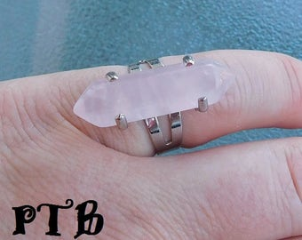 Self Love ~ Authentic Natural Rose Quartz Double Terminated Wand 6 faceted Gemstone Ring adjustable