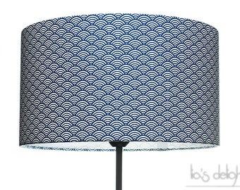 """Pour Laurène - Abat-jour géométrique japonisant """"Vagues"""" bleu royal,40 cm, japonaise, abatjour, abat jour"""