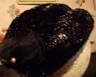 Original Sparkling Black 1940's / 1950's Evening Hat - MINT Condition