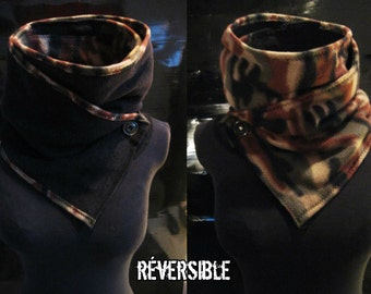 Reversible Camouflage Scarf - Recycled - HandMade - One of a Kind - Post-Apocalyptic - Steampunk -