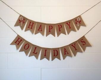 HAPPY HOLIDAYS Burlap Banner,Christmas Burlap Banner, Holiday Burlap Banner,Christmas Galand/Bunting,Christmas Decor