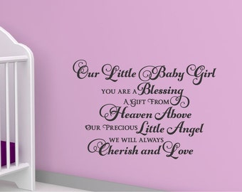 "Our Little Baby Girl Vinyl Design Wall Decor sticker decal 22.5"" x 15.5"""