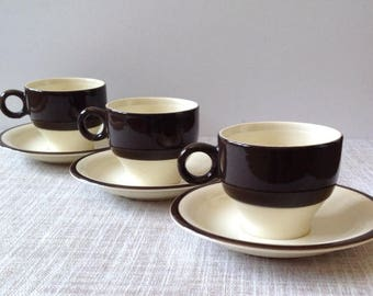 Three  Pagnossin Earthenware Demitasse Cups and Saucers in a Two Tone Colourway of Coffee & Cream. Coffee Cups