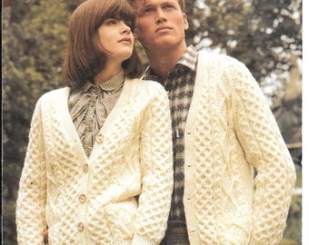 Ladies and gents knitting pattern for an aran cardigan / jacket to fit sizes 32ins - 42 ins PDF - vintage pattern