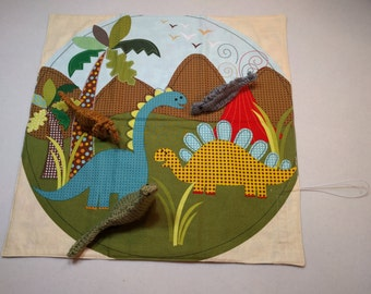 Dinosaur Activity Mat - with a set of 3 'Knit Chicken' Dinosaurs