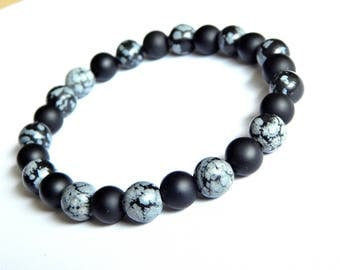 Men 's bracelet with agate and obsidian snowflake stones