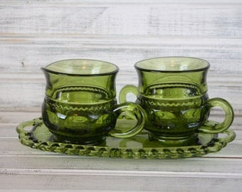 Colony Avocado Green King's Crown Thumbprint Creamer and Sugar with Tray Set