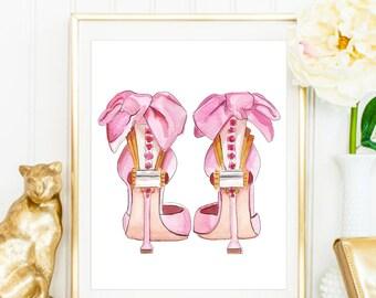 Fashion Print. Christian Louboutin Shoes Print. High Heels Print. Watercolor Print. Fashion Illustration. Modern Home Décor.