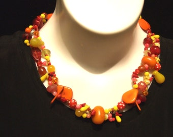 """Colorful multi-strand necklace; antique African trade beads,( Vaseline, snake, dun dun) tagua, crystals, agate, coral, and more. 25""""(Neck72)"""
