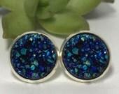 Peacock Druzys | druzy earrings | galaxy earrings | crystal earrings | druzy studs | round earrings | geometric posts | faux druzy earring |