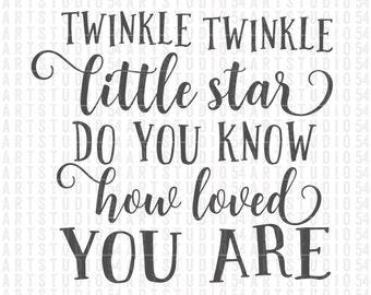 Twinkle Twinkle Little Star - Digital File - Clip Art - SVG, PNG, JPG, - Personal and Commercial Use - Artstudio54