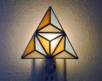 Geometric Stained Glass Nightlight in Turquoise, Brown, and Cream - Ready to Ship
