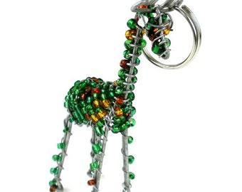 Hand Beaded Giraffe Key Ring/Zipper Pull