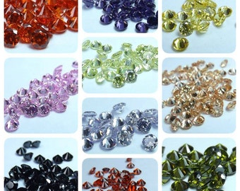 200pcs./10Colors Muti-Color Cubic Zirconia Round cut 4.00mm. loose gemstones.