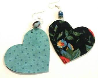 Fabric Heart Earrings 2