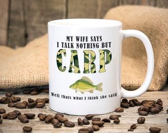Carp Fishing Themed - Fishermans Mug - Fun Mug - Great gift for birthdays - Tea mug - Coffee mug - Printed mug - Funny Mug
