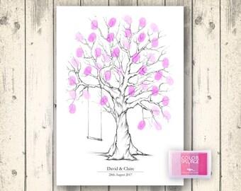 Personalised Wedding Fingerprint Tree Guest Book   Print Or Canvas Option    Free Ink Pad
